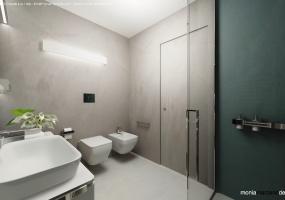foto di un bagno studiato accuratamente con all' interno doccia e vasca idromassaggio parte di una meravigliosa villa con piscina in Salento precisamente in Santa maria di Leuca