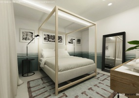 foto di una luminosa camera da letto arredata finemente con materiali pregiati situata all' interno di una meravigliosa villa con piscina  in salento precisamente in Santa Maria di Leuca