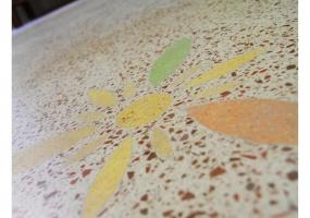 foto di un pavimento in cocciopesto dipinto a mano di un antico palazzo ristrutturato che si trova in salento precisamente in Ruggiano di Salve