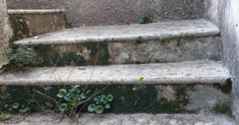 nella foto vediamo scalini antichi con cui si accede al primo piano di una antichissima casa