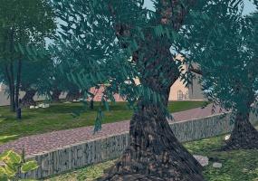 nella foto vediamo un albero con muretto a secco di una villa i