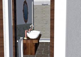 nella foto vediamo un bellissimo bagno di una meravigliosa villa con vista mare in salento