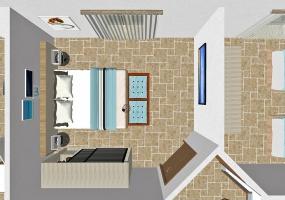 nella foto vediamo una camera da letto nella villa a pochi metri dal mare in salento