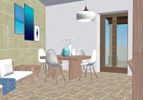 nella foto vediamo una cucina di una villa con vista mare in pescoluse di salve
